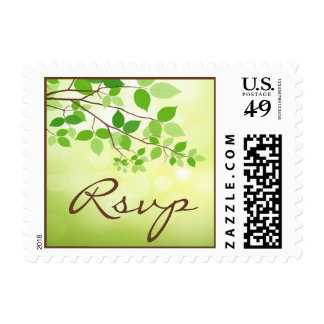 Leafy Branch Camping or Nature Wedding RSVP Postage