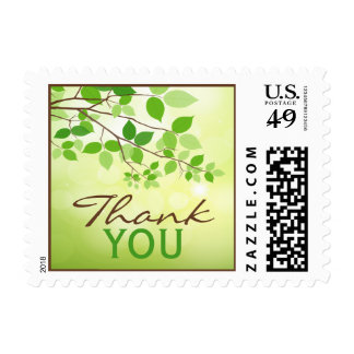 Leafy Branch Camping or Nature Wedding Thank You Postage