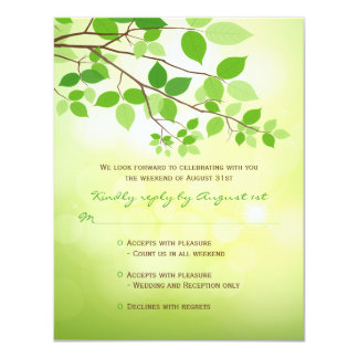 """Leafy Branches Camping Wedding RSVP Card 4.25"""" X 5.5"""" Invitation Card"""