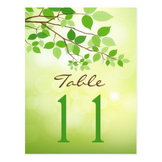 Leafy Branches Wedding Table Number Postcard