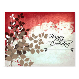 Leafy Brick Red Happy Birthday Postcard
