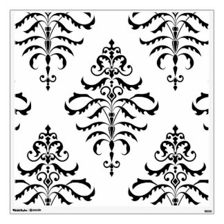 Leafy Damask - Black on White Wall Decal
