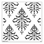 Leafy Damask - Black on White Wall Sticker