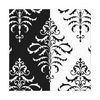 Leafy Damask Pattern - Two-Way Design Canvas Print