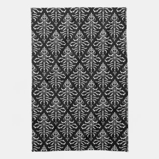 Leafy Damask Repeat Pattern - White on Black Hand Towels