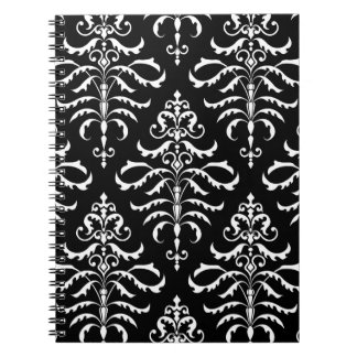 Leafy Damask Repeat Pattern - White on Black Spiral Note Books