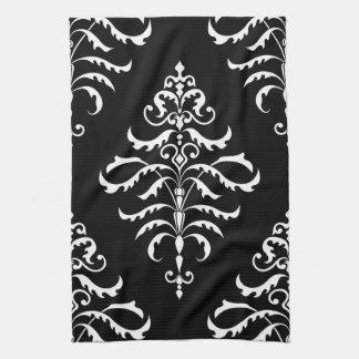 Leafy Damask - White on Black Hand Towels