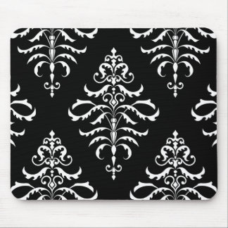 Leafy Damask - White on Black Mouse Pad
