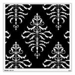 Leafy Damask - White on Black Room Graphics