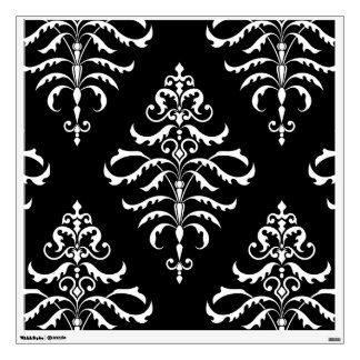 Leafy Damask - White on Black Wall Sticker