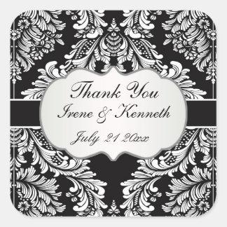 Leafy Damask white on black Wedding favor Square Sticker