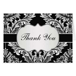 Leafy Damask white on black  Wedding Thank You Stationery Note Card