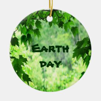 Leafy Earth Day Ceramic Ornament