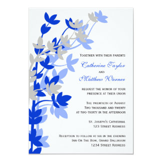 "Leafy Elegance In Blue Silver Wedding Invitation 5"" X 7"" Invitation Card"