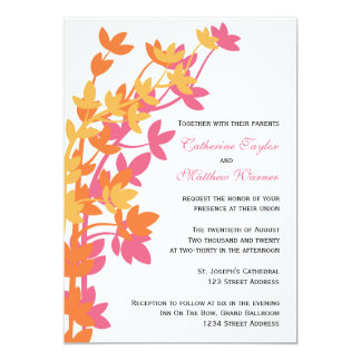 Leafy Elegance In Pink Orange Yellow Wedding 5x7 Paper Invitation Card