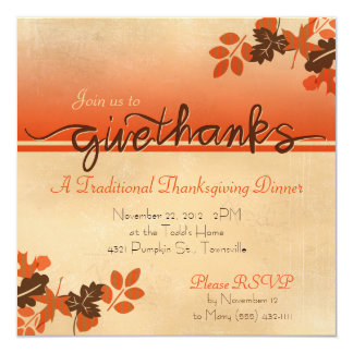 "Leafy ""Give Thanks"" Thanksgiving Invitation"