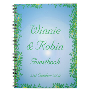 Leafy Glade Guestbook for a Handfasting Note Books