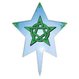 Leafy Glade Pentacle Pagan Handfasting Cake Topper