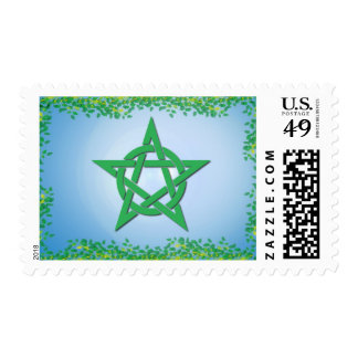 Leafy Glade Wiccan Pentacle Postage Stamp