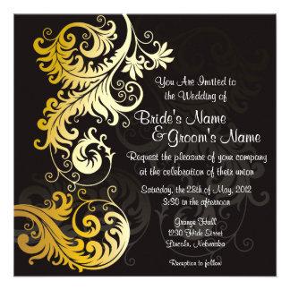 Leafy Gold & Black Wedding Invite