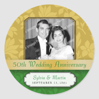 Leafy Gold Damask 50th Anniversary Stickers
