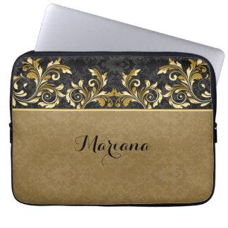 Leafy golden swirls, black damask laptop sleeve