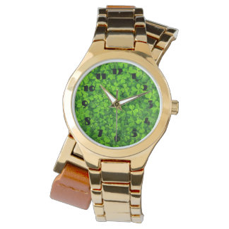 Leafy Green Clovers with Water Droplets Wristwatch