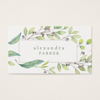 Leafy Green | Trendy Watercolor Frame Business Card