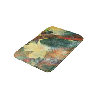 Leafy Grunge Autumn Colors and Textures Bathroom Mat