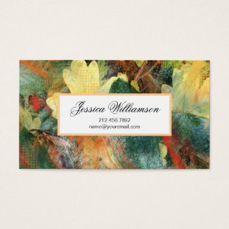 Leafy Grunge Autumn Nature Textures Business Card