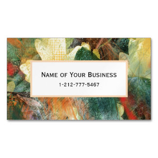 Leafy Grunge Autumn Nature Textures Magnetic Business Card