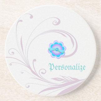 Leafy Lavender Vector & Flower Beverage Coaster