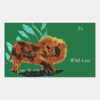 Leafy Lion Wild Animal illustration Rectangular Sticker