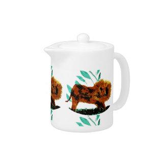 Leafy Lion Wildlife Art Teapot