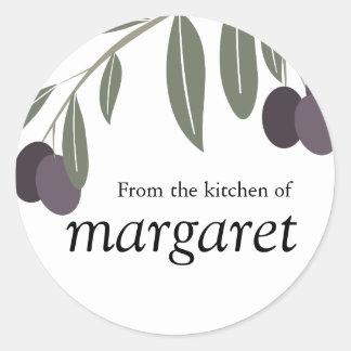 leafy olives branch kitchen gift tag sticker, F...