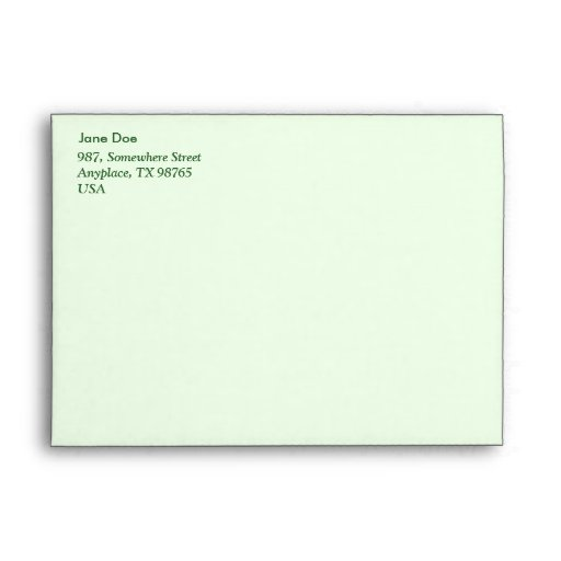 Leafy pattern on olive green envelopes