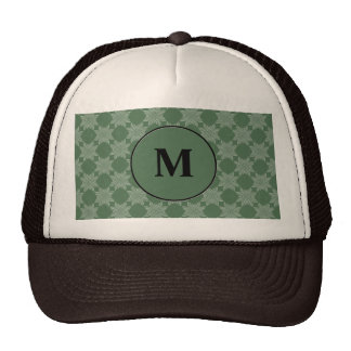 Leafy pattern on olive green hat