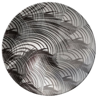 Leafy Patterns Illusions Digital Art Abstract Porcelain Plate