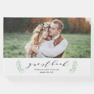 Leafy Photo Wedding Guest Book