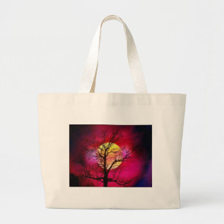 leafy red sunset large tote bag