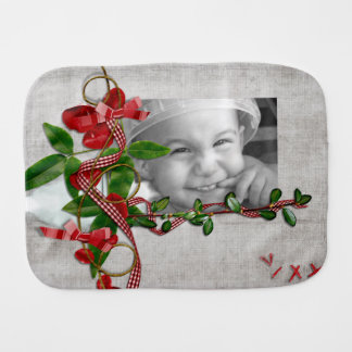 Leafy Ribbons of Red Gingham Photo Frame Baby Burp Cloths