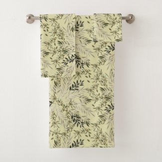 Leafy Shades Botanical Khaki Bath Towels