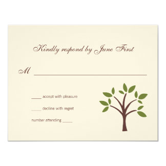 Leafy Tree Wedding Response 4.25x5.5 Paper Invitation Card