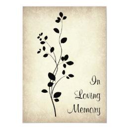 Leafy Vine Design Funeral Memorial Announcement
