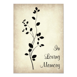 "Leafy Vine Design Funeral Memorial Announcement 4.5"" X 6.25"" Invitation Card"