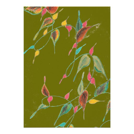 Leafy Vine Moss Green Invitation