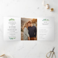 Leafy Watercolor and Faux Rose Gold Wedding Photo Tri-Fold Invitation