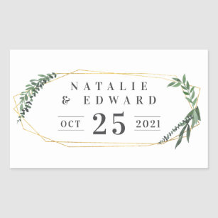 Leafy Watercolor Fl Wedding Name Stickers