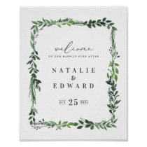 leafy watercolor geometric wedding poster