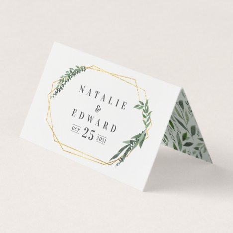 leafy watercolor gold geometric name place card
